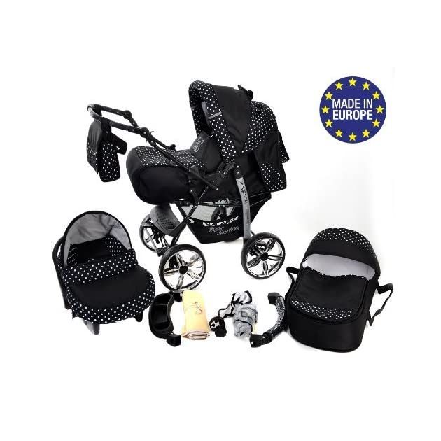 3-in-1 Travel System with Baby Pram, Car Seat, Pushchair & Accessories, Black & White Polka Dots