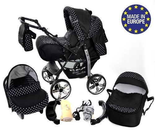 3-in-1 Travel System with Baby Pram, Car Seat, Pushchair & Accessories, Black & White Polka Dots 51biCF9nUnL