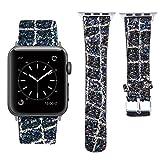 MEFEO für Apple Watch Armband 38mm 42mm, Leder Band Glitzer in 9 Farben für Iwatch Series 3/2/1 Sport Edition (Schwarz+Gold-38mm)