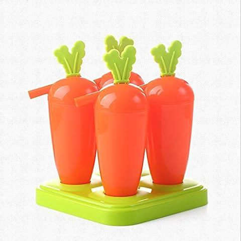 LINGZHIGAN Orange Couleur Formule de carottes Moule à la glace Mélange réutilisable Frozen Ice Cream Moule populaire 2 pièces /
