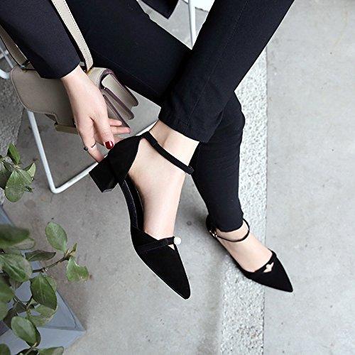 SHOESHAOGE Chaussures Femmes Talon Pointu DAutomne Avec Pearl Un Mot Buckle Chaussures Femme Couleur unie