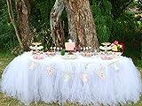 Tutu Tüll Tisch Rock, Tischdecke Rock geeignet für Hochzeit Party Baby Baden Geburtstag Kuchen Tisch Mädchen Prinzessin Dekoration, weiß, Free Size