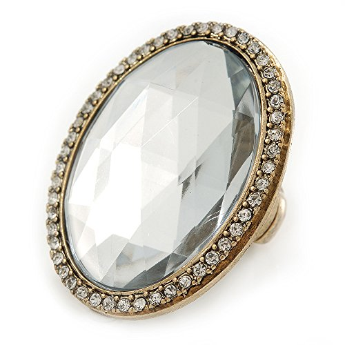 Angesagter flexibler goldfarbener Ring, oval mit klarem Glas (Glas Cocktail-ring)