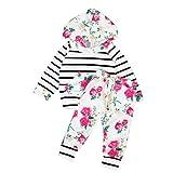 Amlaiworld Vêtements de bébé, Garçon Fille Tops rayés floraux + pantalons tenues 2pcs ensemble (80/6-12m, Blanc)
