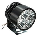 Audew LED Moto Phares Universel Avant Lampe Headlight Spotlight 12V 1000LM 6500K Noir