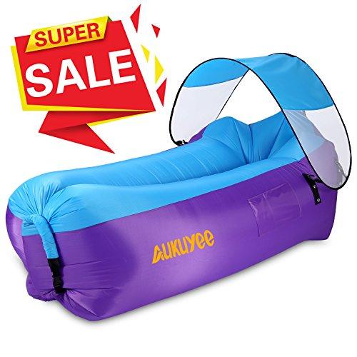 Aufblasbare Liege, AUKUYEE Luft Sofa Hängematte Aufblasbare Stuhl Pool Sitzsack mit Tragetasche & Abnehmbares Sonnendach für Reisen, Camping, Wandern, Pool und Strandpartys