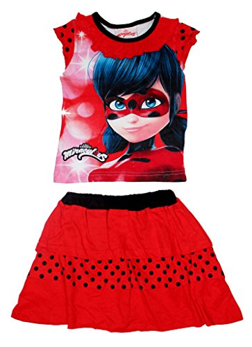 Miraculous Ladybug Mädchen T-Shirt und Rock Set (98 (3 Jahre), Rot 2)