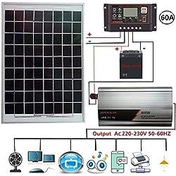 Kit panneau solaire polycristallin 800 watts 230V, panneau solaire polycristallin 20W+contrôleur de charge solaire LCD 40/50/60A+inverseur de protection de connexion inversée 800W+pinces pour batterie