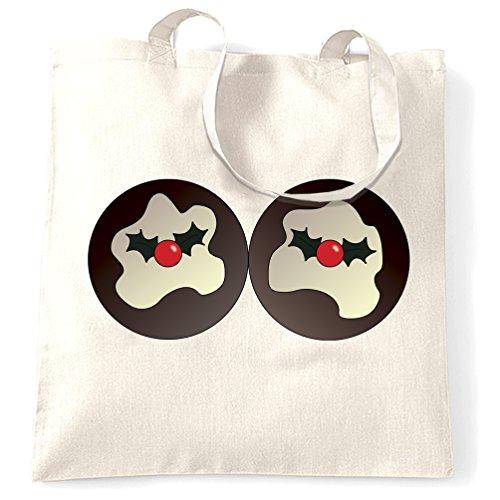 Natale Tote Bag Xmas Pudding Seno Rude Print Design Novità Per Lei Bianco