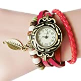 Upxiang Frauen Kinder Retro Leather Winding Armband, Blatt Anhänger Uhr, Damenuhr, Damen Herrenuhr, Damen Watches, Uhren (Rot)