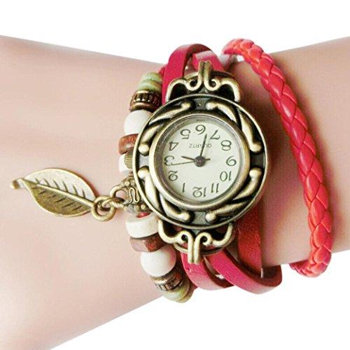 Upxiang Frauen Kinder Retro Leather Winding Armband, Blatt Anhänger Uhr, Damenuhr, Damen Herrenuhr, Damen Watches, Uhren (Rot) Roten Gürtel Schwarzes Zifferblatt, Damen-uhr