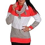 2er Set Pullover +Fransen Loop Schal Glitzer Raute Strick Pulli Sweater Streifen (Rot Weiss Grau)