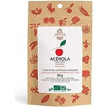 Acerola Bio - Acerola cruda - pura 98% - Vitamina C natural | 50g Polvo de Acerola | Sol Semilla
