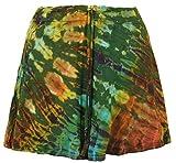 Guru-Shop Batik Hippie Minirock, Boho Sommerrock, Damen, Olive, Synthetisch, Size:38, Kurze Röcke Alternative Bekleidung