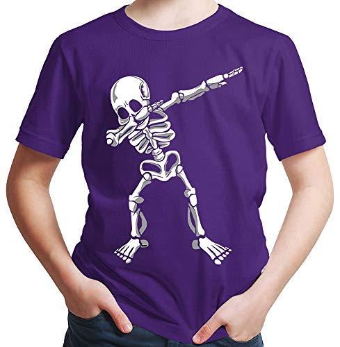 HARIZ  Jungen T-Shirt Dab Skelett Dab Teenager Trend Halloween Plus Geschenkkarten Lila 152/12-13 Jahre (Kinder Skelett Shirt)