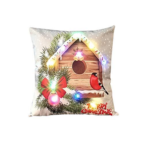 Weehey 18 * 18 Pulgadas/45 * 45 cm Lino de Colores Llevó la Luz de Navidad Funda de Cojín de Navidad...