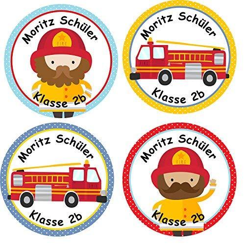 ividuelle Aufkleber für Kinder - Motiv Feuerwehr - personalisierte Sticker - Schule Einschulung ()