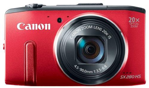 Canon PowerShot SX 280 HS Digitalkamera (12 MP, 20-Fach Opt. Zoom, 7,6cm (3 Zoll) LCD-Display, bildstabilisiert) rot -