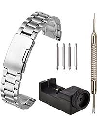JSDDE Bracelet de Montre en Acier Bracelet en Maille Mince Boucle de Pile 20mm avec Outil