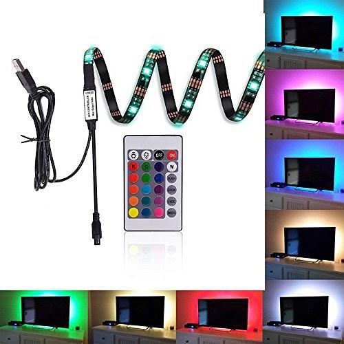 efanr LED Licht Streifen Neon RGB TV HINTERGRUNDBELEUCHTUNG USB Multi Farbe geändert Beleuchtung 89,9cm Länge Light Tape mit 24Schlüssel Fernbedienung Controller für HDTV LCD-Flachbildschirm-TV