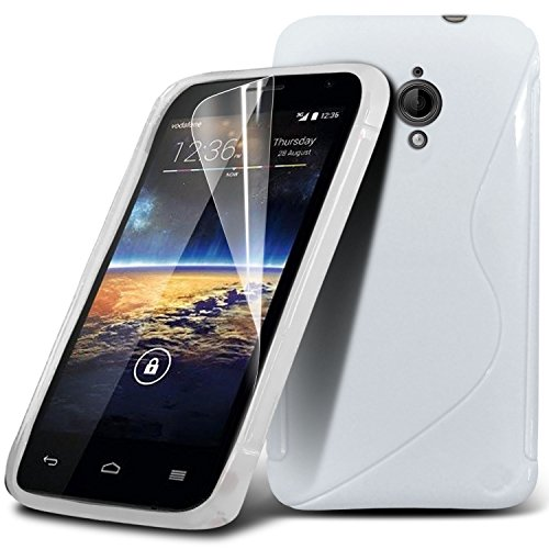 (Bianco) Vodafone smart 4 Turbo elegante linea S Hydro Wave Gel Pelle Carter & Screen Protector da * Aventus *