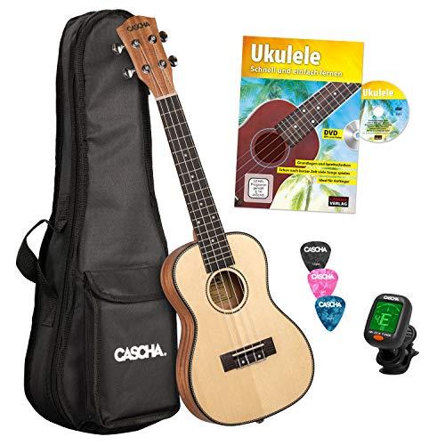 CASCHA Konzert Ukulele, Massive Fichtendecke, Solid Top, Hawaii Gitarre Starter Lern Set mit Zubehör, Aquila-Saiten, Anfänger Buch, Tasche, Stimmgerät und 3 Plektren