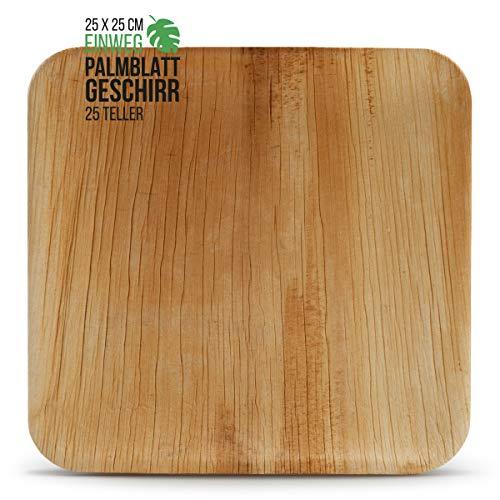 int!rend 25 platos desechables de hoja de palma | 25 x 25 cm | sostenible, compostable, biodegradable | plato bio de hoja de palma para fiesta, barbacoa, mercado navideño, vajilla ecológica