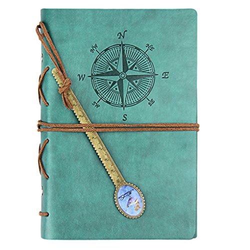 Quaderno in similpelle con spirale, stile piratesco, diario di bordo, vintage, per appunti, disegni, poesie, anche per foto formato A6, con segnalibro a righello, 80fogli Bleu, A5