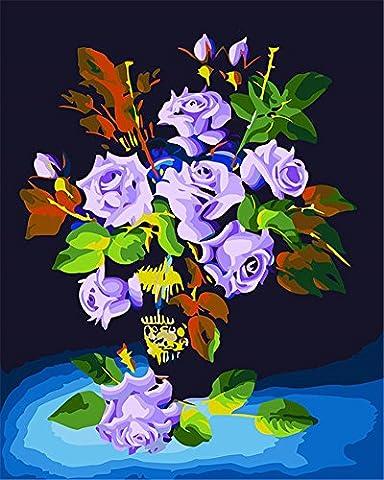 CaptainCrafts Nouveau DIY Pétrole Kits de numéro de peinture 16x20 pouces pour adultes Enfants débutants, Nouveau créatif DIY peinture à l'huile numérique lin Toile - Amour de Gardien, Romance Fleurs pourpres (Sans cadre)