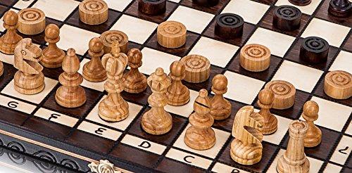 OLYMPISCHE-KIRSCHE-SCHACH-ZUGLUFT-35cm14-In-Handarbeit-aus-Holz-Schachspiel-mit-Dame