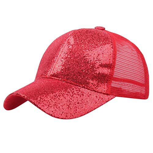 ba212dc5 Hats Sunday77 Unisex Mesh Adjustable Cotton Girl Ponytail Baseball Cap  Sequins Shiny