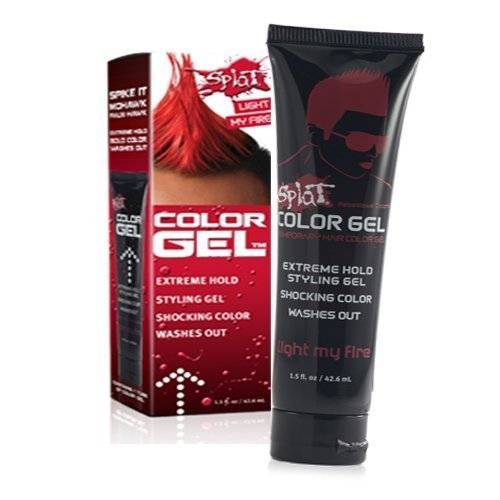Splat Shocking Color, Extreme Hold Styling Gel, Light My Fire, 1.5 Oz. by Splat - Extreme Hold Gel