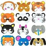 WolinTek Maschere per Animali in Schiuma per Bambini,Confezione da 12 Pezzi per Feste, Festa di Compleanno,Halloween