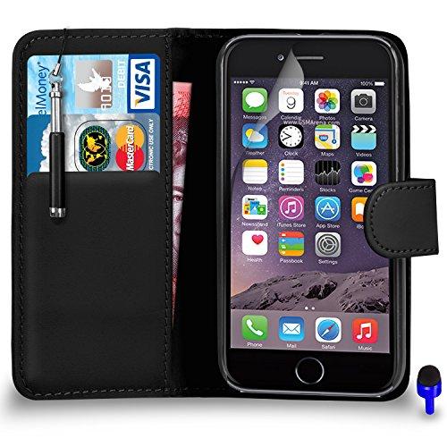 """Apple iPhone 6 (4.7 """"pouces) Premium Leather Blanc Wallet flip écran Housse Pouch + rétractable tactile Stylet + Protecteur & Chiffon PAR SHUKAN®, (BLANC) Noir"""