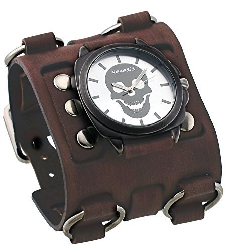 Nemesis #BFW935S Men's Gun Metal Skull Face Dial Super Tri Clasp Wide Leather Cuff Band Watch