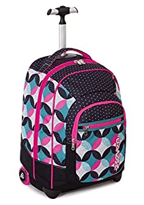 TROLLEY FIT - SEVEN - BUNNY - 2in1 Wheeled Backpack with Disappearing Shoulder Straps - Pink Black 35Lt by Seven