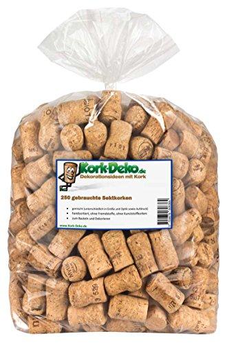 Kork-Deko 250 tappi di sughero usati per il bricolage, la decorazione e l'hobbistica/Tappi di bottiglia in sughero naturale/Tappi da spumante/Tappi di champagne