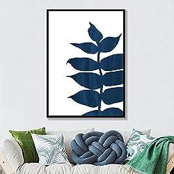 QianLei Sombre Palmier Bleu Marine Feuilles Art Minimaliste Moderne Art Print Botanical Denim Posters Picture Room Decor-40X50cm No Encadré
