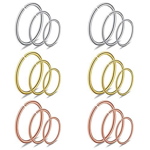 AceFun 18er Körperpiercing Set Fake Hoop Ring für Nasenpiercing Tragus Helix Ohr Nase Lippe Segmentring Septum Brust Intim 20G 0.8mm 6/8/10mm Chirurgenstahl Piercing Schmuck Mix Farbe