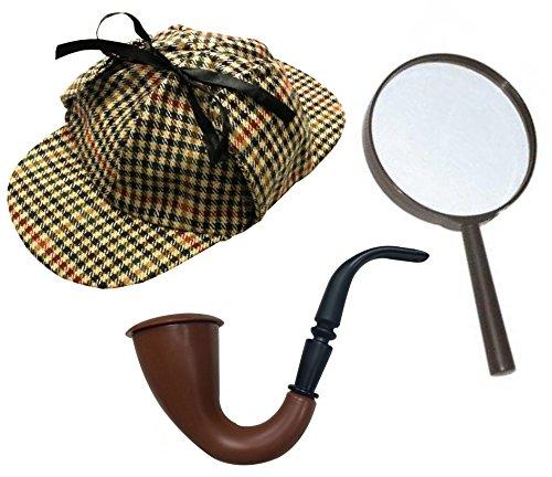 ILOVEFANCYDRESS Sherlock Holmes Fancy Dress Accessory set foderato Deerstalker Hat + lente d' ingrandimento marrone vittoriano look tubo TV detective