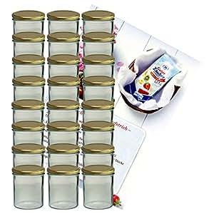 24er Set Sturzglas 350 ml Marmeladenglas Einmachglas Einweckglas To 82 goldener Deckel incl. Diamant-Zucker Gelierzauber Rezeptheft