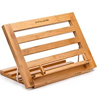 Andrew James Bamboo Cookbook Stand Adjustable and Folding Holder for Cookbooks, Tablets, iPads and Smart Phones