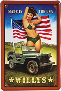 Plaque sexy pin up girl willys jeep-unis pour voiture 20 x 30 cm - 04