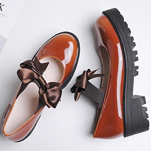 COOLCEPT Damen Mode-Event Elastischer Riemen Schuhe Geschlossene Pumps Schuhe mit Bogen Braun