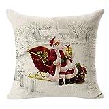 Omiky® 18x18Inches Christmas Cushion Case,Xmas Decor Cotton Linen Pillow Cover with Hidden Zipper (Pattern E)