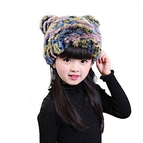 2da4f97fe45 21% OFF on Generic Multi   2017 NEW Rabbit Fur Knitted Children Hat Winter  Warm Fur Hats Boys Grils Real Fur Striped Beanies Cap Natural Fur Baby Hat H 26  ...