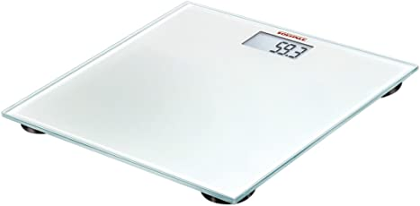 Soehnle Pino White digitale Personenwaage mit großer Trittfläche, Waage mit gut lesbarer LCD-Anzeige, Personen Digitalwaage in hochwertiger Optik