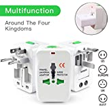 Senowik® Universal Worldwide All In One Travel Charger Adapter Plug / Universal Travel Adapter With Built-in Surge Protector All In One Travel Power Outlet Adapter Wall Changer Adaptor Works In 150 Countries EU UK US AU With Pouch, White