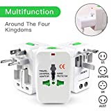 #9: Senowik® Universal Worldwide All in One Travel Charger Adapter Plug / Universal Travel Adapter With Built-in Surge Protector All in One Travel Power Outlet Adapter Wall Changer Adaptor Works in 150 Countries EU UK US AU with Pouch, White