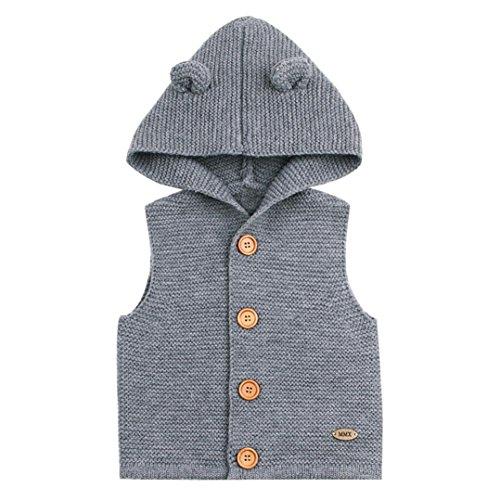 janly® Baby Weste Jacke Weste Kids Winter Warm Mantel mit Kapuze Kinder Jungen Mädchen Knit Dick Oberbekleidung, grau